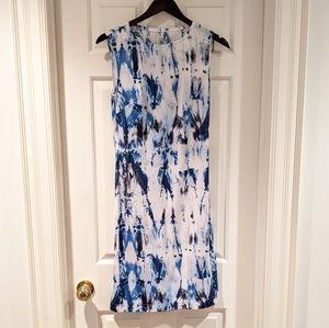 White and Blue Splatter Print Dress